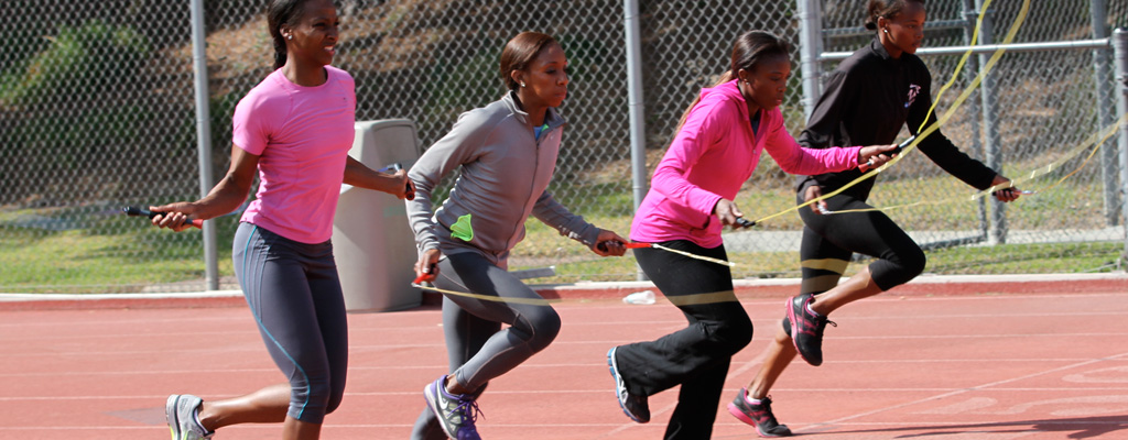 The JumpRopeSprint Performance Team races at sanctioned USATF events.